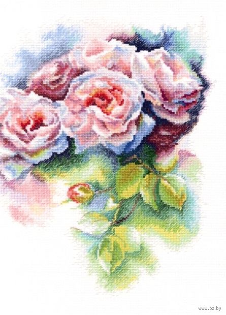 "Вышивка крестом ""Розовая нега"" (250x315 мм) — фото, картинка"