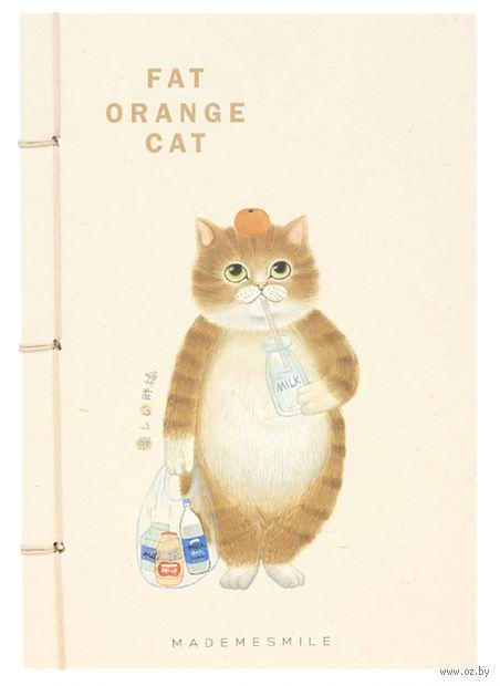 """Блокнот """"Оранжевый кот со стаканом"""" (А5) — фото, картинка"""