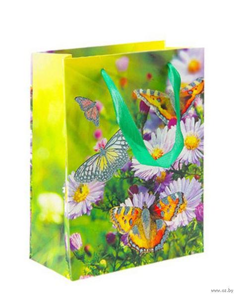 "Пакет бумажный подарочный ""Бабочки на астрах"" (23х18х9 см; арт. 10576843)"