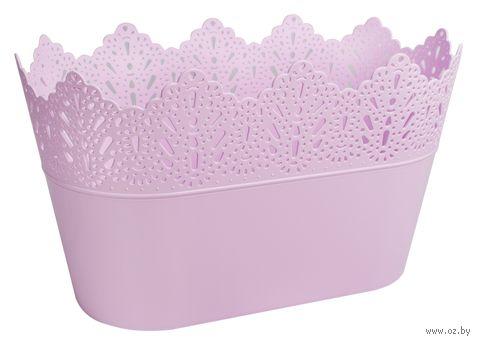 """Цветочный горшок """"Кружево"""" (27х15х15,5 см; розовый) — фото, картинка"""
