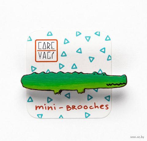 """Значок деревянный """"Крокодил"""" — фото, картинка"""