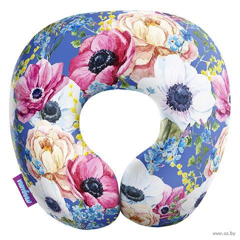 """Подушка под шею """"Оттенки весны. Крупный принт"""" (29х29 см; голубая) — фото, картинка"""