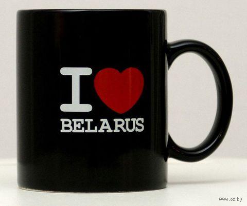 """Кружка керамическая Vitaem """"I LOVE BELARUS"""" (стандартная, черная)"""