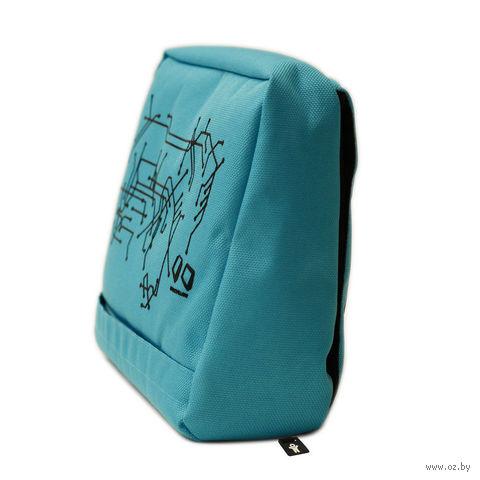 """Подушка-подставка с карманом для планшета """"Hitech"""" (голубая, черная)"""
