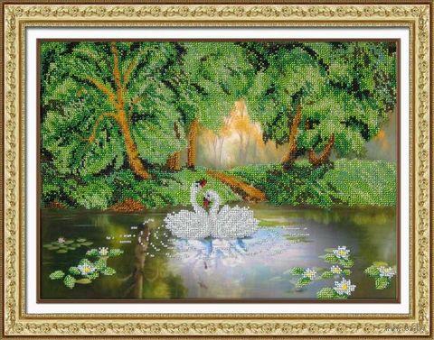 "Вышивка бисером ""Лесное озеро"" (270х380 мм) — фото, картинка"