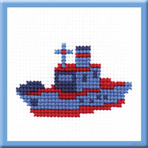 "Вышивка крестом ""Кораблик"" (55x85 мм) — фото, картинка"