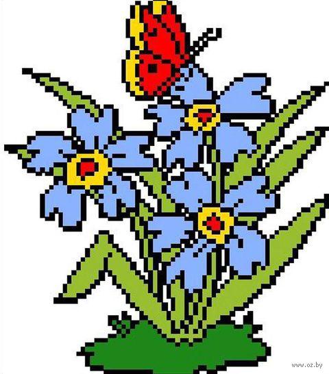 """Вышивка крестом """"Цветы с бабочкой"""" (185х200 мм) — фото, картинка"""