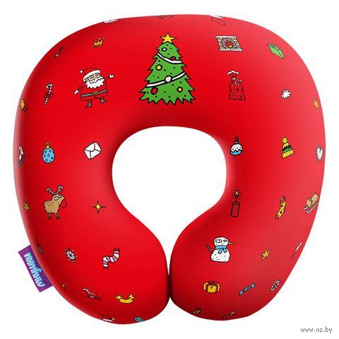 """Подушка под шею """"Любимый праздник"""" (34х34 см; красная) — фото, картинка"""