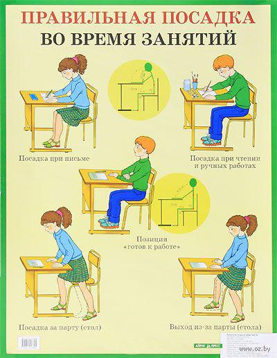 Правильная посадка во время занятий. Плакат