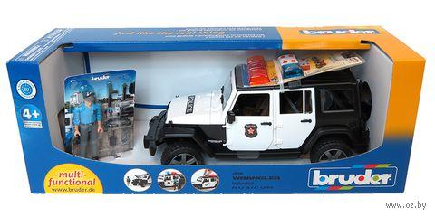 """Модель машины """"Внедорожник Jeep Wrangler. Полиция с фигуркой"""" (масштаб: 1/16)"""