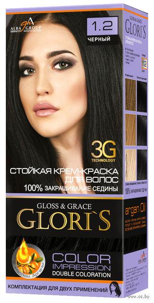 """Крем-краска для волос """"Gloris"""" (тон: 1.2, черный) — фото, картинка"""