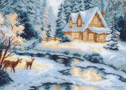 """Канва с нанесенным рисунком """"Таежный домик"""""""