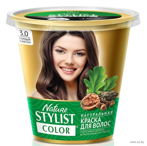 "Краска для волос ""Nature Stylist Color"" тон: 3.0, темный каштан — фото, картинка"