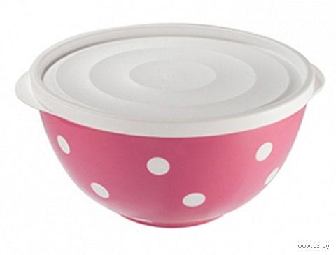 "Салатник двухцветный с крышкой ""Marusya"" (1,4 л; фламинго) — фото, картинка"