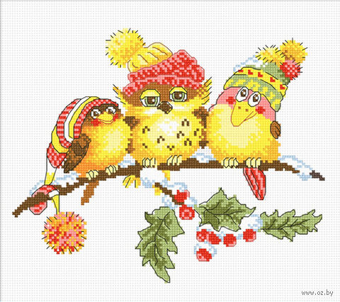 "Вышивка крестом ""Новогоднее трио"" (230x190 мм) — фото, картинка"
