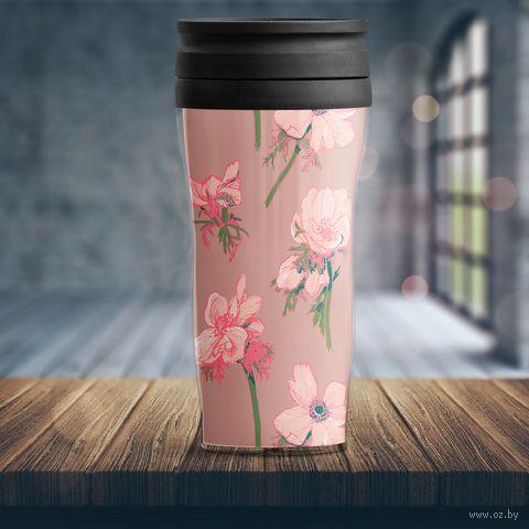 """Термостакан """"Розовые цветы"""" (арт. 11) — фото, картинка"""