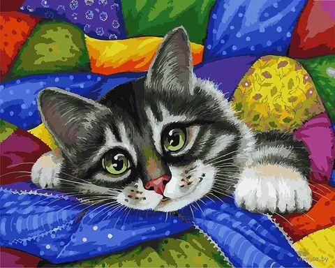 "Картина по номерам ""Котик в лоскутках"" (400х500 мм) — фото, картинка"