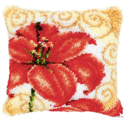 "Вышивка в ковровой технике ""Подушка. Лилии"" (400х400 мм) — фото, картинка"