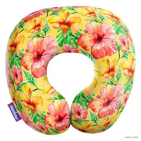 """Подушка под шею """"Тропические цветы. Маленькие"""" (29х29 см; жёлтая) — фото, картинка"""