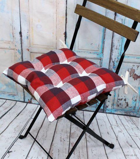"Подушка на стул ""Шотландка"" (42х42 см; красно-белая) — фото, картинка"