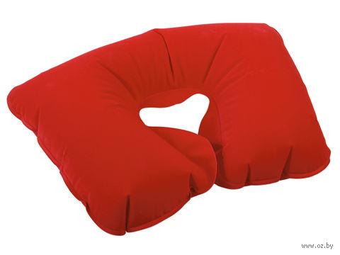 Подушка надувная под голову (в чехле, красная) — фото, картинка