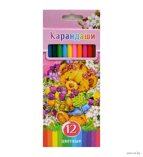 """Цветные карандаши """"Забавные пушистики"""" в картонной коробке (12 цветов)"""