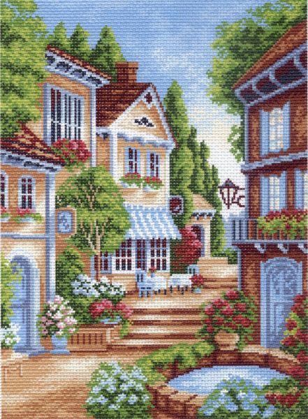 """Канва с нанесенным рисунком """"Цветущий дворик"""""""