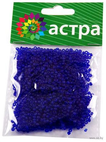 Бисер прозрачный №М8 (синий; матовый; 11/0) — фото, картинка