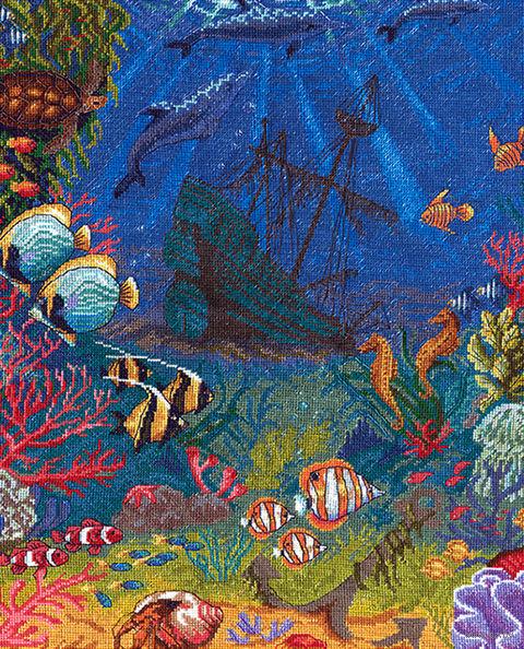 """Вышивка крестом """"Подводный мир"""" (335х425 мм) — фото, картинка"""