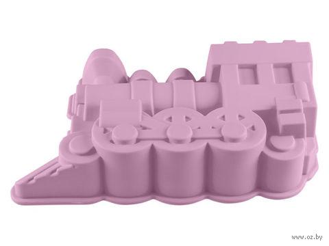 """Форма для выпекания силиконовая """"Паровоз"""" (305х175x70 мм; лиловая) — фото, картинка"""