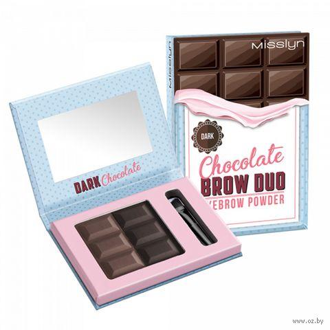 """Пудра для бровей """"Chocolate brow duo"""" тон: 06, dark chocolate — фото, картинка"""