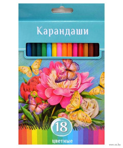 """Цветные карандаши """"Аквамариновое настроение"""" в картонной коробке (18 цветов)"""
