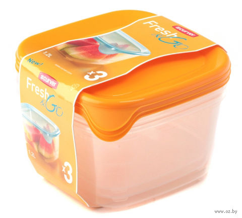 """Набор контейнеров пластмассовых """"Fresh&Go"""" (3 шт; 1,2 л; желтый)"""