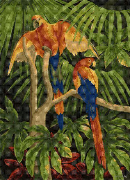 "Алмазная вышивка-мозаика ""Попугаи в зелени"" (500х360 мм) — фото, картинка"