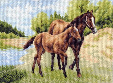 """Канва с нанесенным рисунком """"Лошади"""" (арт. 0687)"""
