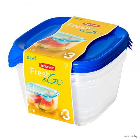 """Набор контейнеров пластмассовых """"Fresh&Go"""" (3 шт; 1,2 л; синий)"""