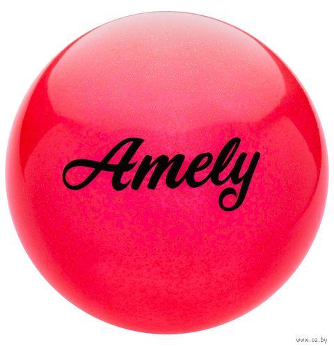 Мяч для художественной гимнастики AGB-102 (19 см; красный с блёстками) — фото, картинка