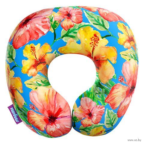 """Подушка под шею """"Тропические цветы. Большие"""" (34х34 см; голубая) — фото, картинка"""