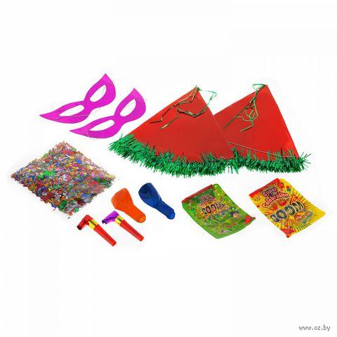 """Набор карнавальный (2 колпака, 2 маски, 2 шарика, 2 дудки, конфетти, 2 набора """"сюрприз"""")"""