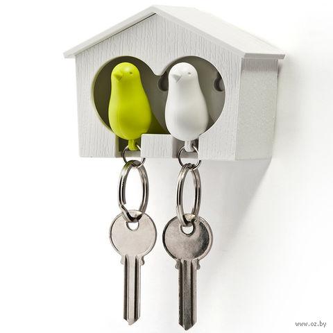 """Брелок-свисток и держатель двойной для ключей """"Sparrow"""" (белый/зеленый)"""