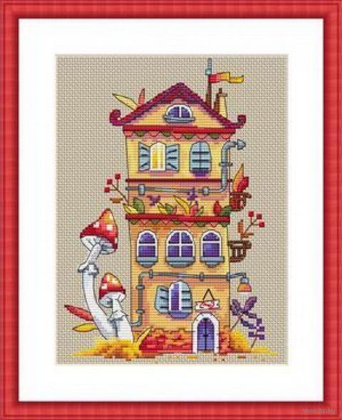 """Вышивка крестом """"Осенний домик"""" (190х140 мм) — фото, картинка"""