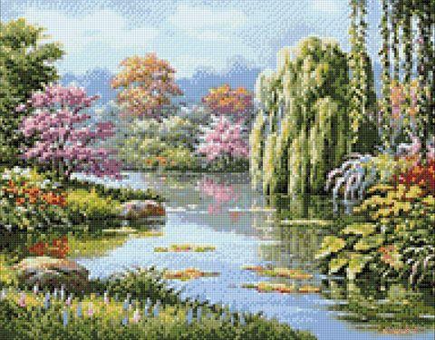 """Алмазная вышивка-мозаика """"Живописное озеро"""" (480х380 мм) — фото, картинка"""