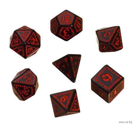 """Набор кубиков """"Рунический"""" (7 шт.; черно-красный) — фото, картинка"""