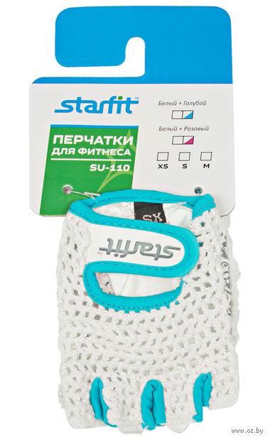 Перчатки для фитнеса SU-110 (M; белые/голубые) — фото, картинка