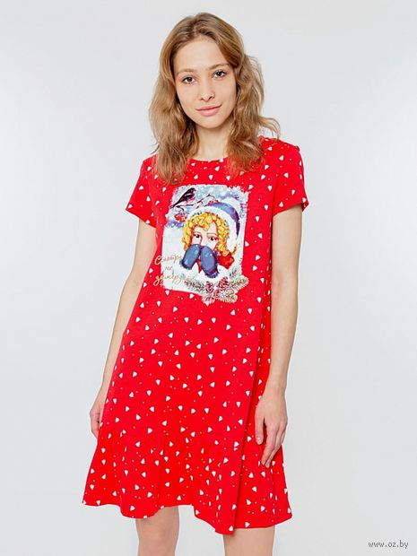 """Сорочка ночная женская """"572327"""" (красный) — фото, картинка"""