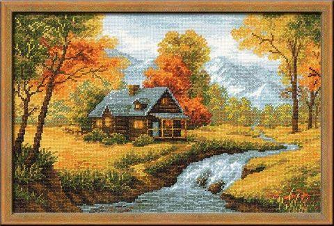 """Вышивка крестом """"Осенний пейзаж"""" (380х260 мм) — фото, картинка"""