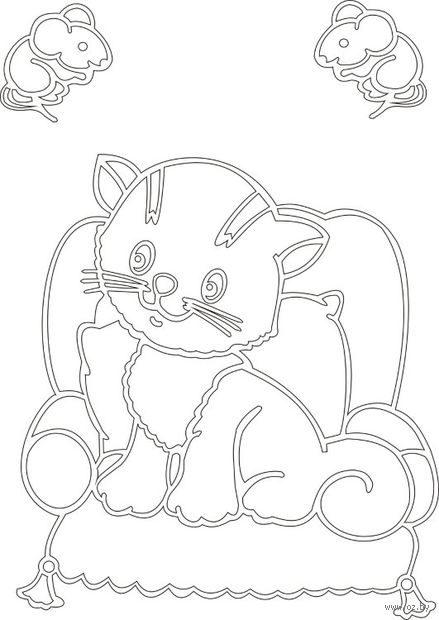 """Трафарет для рисования песком """"Кот с мышами"""" (А4)"""