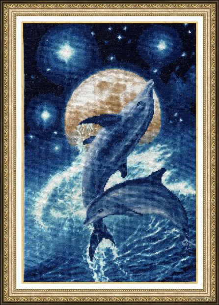 """Вышивка крестом """"Дельфины"""" (352х229 мм) — фото, картинка"""