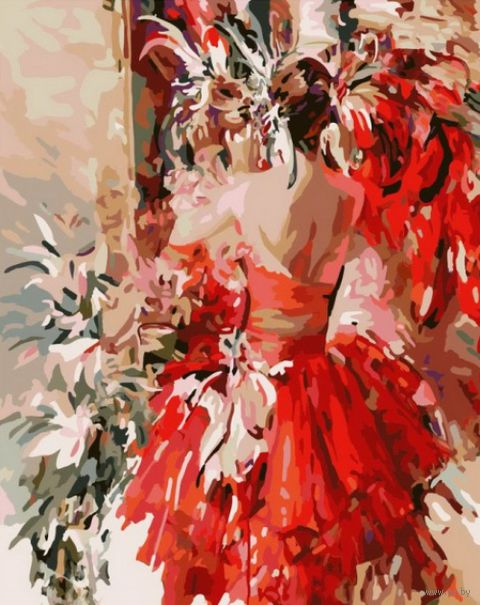 "Картина по номерам ""Девушка в красном"" (400х500 мм)"