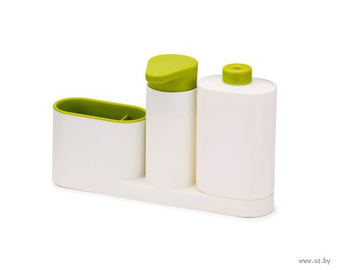 """Органайзер для раковины с дозатором для мыла и бутылочкой """"SinkBase Plus"""" (бело-зеленый) — фото, картинка"""